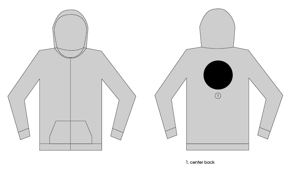 Extra Large Custom Patch Zip Hoodie Placement