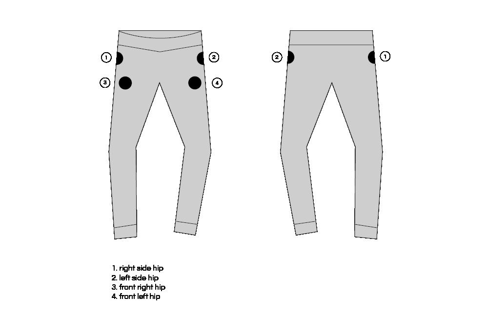Pants Custom Patch Placement Options