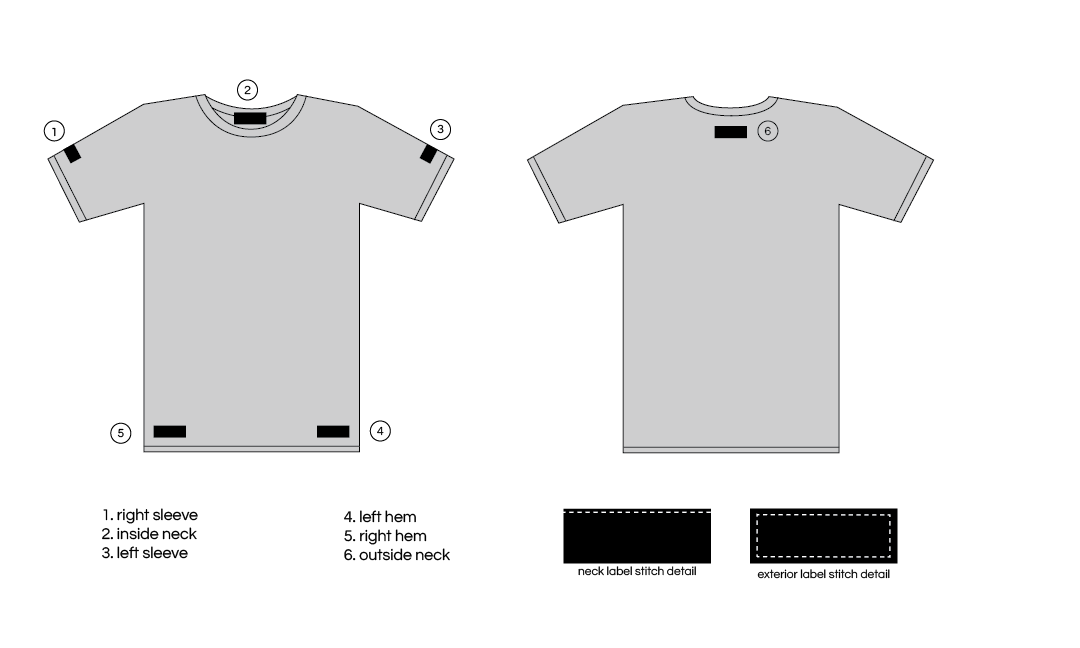Label placement options apliiq for T shirt printing and labeling