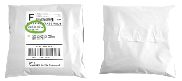 example image of a dropshipping package with custom shipping label