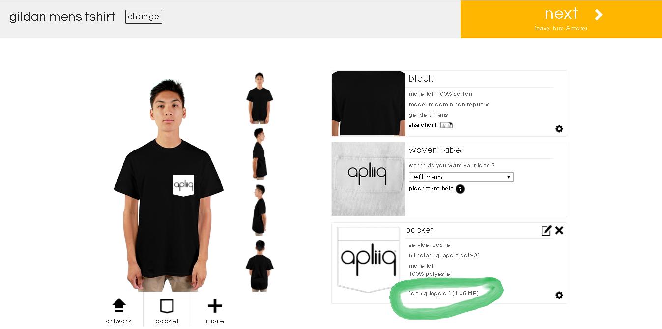 how to link artwork to a custom t shirt step 2