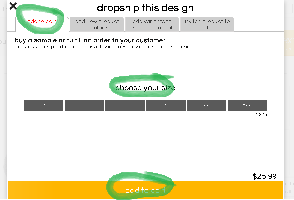 second step in entering a dropshipping order